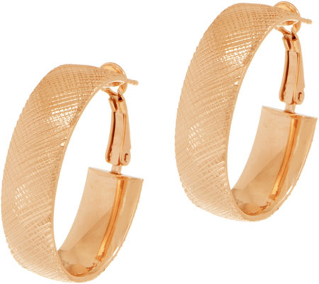 Italian Silver Diamond Cut Oval Hoop Earrings