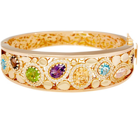 """As Is"" Arte d' Oro Average Multi-gemstone Oval Bangle 18k Gold, 27.6g"