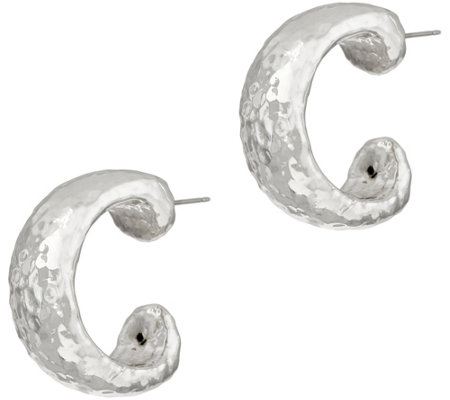 Simon Sebbag Sterling Silver Electroform Hammered Hoop Earrings