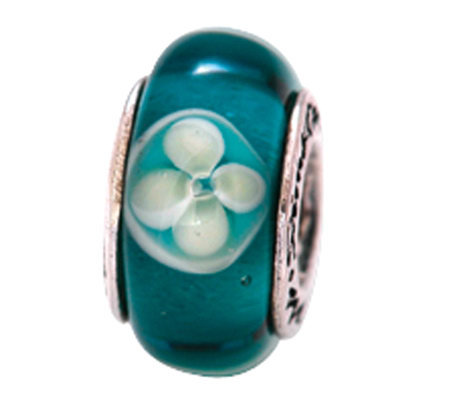 Prerogatives Sterling Blue/White Floral Glass Bead