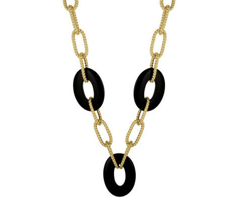 "Arte d'Oro 18"" Gemstone Station Link Necklace,18K 14.0g"