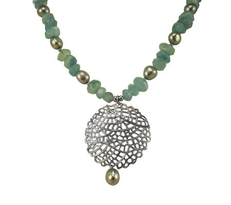Or Paz Sterling Milky Aquamarine & Pearl Necklace
