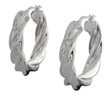 "UltraFine Silver 1-1/8"" Polished Twisted RoundHoop Earrings - J113942"