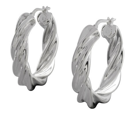 "UltraFine Silver 1-1/8"" Polished Twisted RoundHoop Earrings"