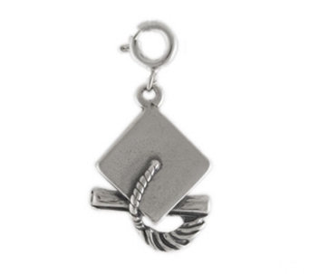 Sterling Graduation Cap and Diploma Charm - J114042