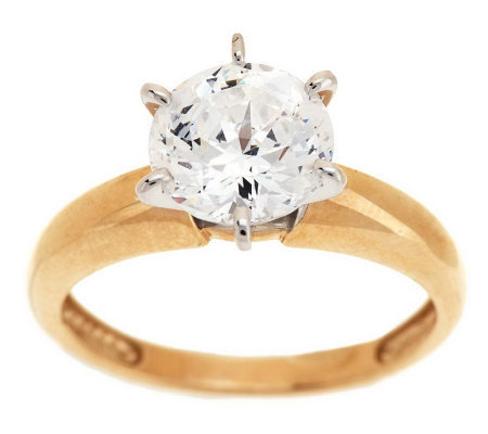 Diamonique 100-Facet 2 ct Solitaire Ring 14K Gold
