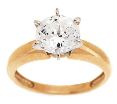 Diamonique 100 Facet 2 ct Solitaire Ring 14K Gold Page 1 QVCcom