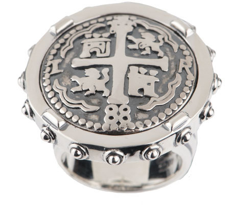 Barry Cord Sterling Spanish Doubloon Large Ring — QVC com