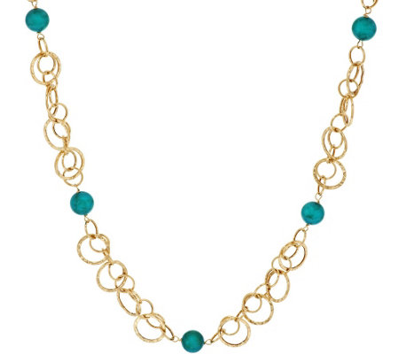"Vicenza Gold 24"" Turquoise Bead Hammered Link Station Necklace, 14K"