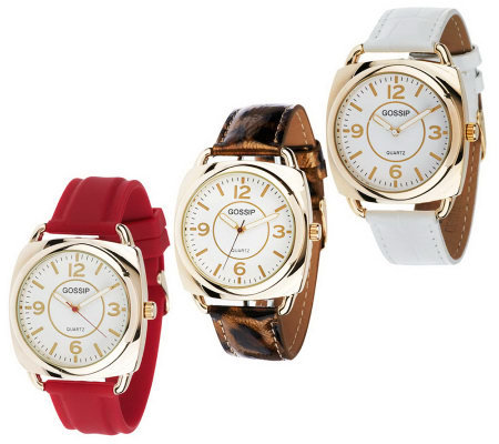 Gossip Set of 3 Strap Watches in Individual Boxes