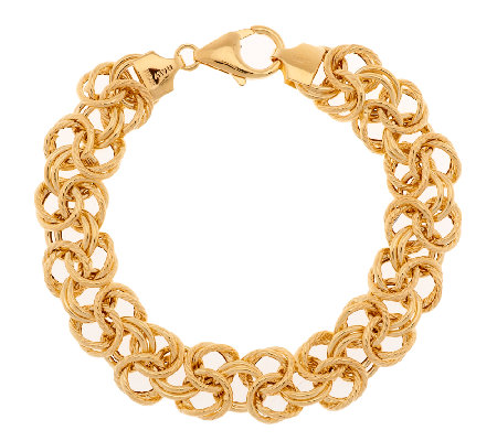 """As Is"" Vicenza Gold 6-3/4""Bold Woven Byzantine Bracelet, 14K Gold, 7.4g"