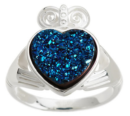 JMH Jewellery Sterling Silver Claddagh Drusy Quartz Ring