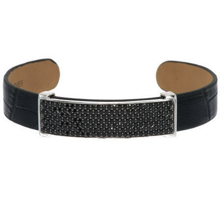 2.70 ct tw Black Spinel Pave' Leather Sterling Bracelet