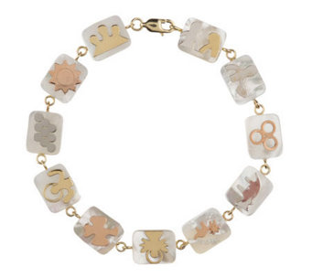 """As Is"" Smithsonian 7-1/4"" Mother- of-Pearl Quilt Bracelet, 14K - J286642"