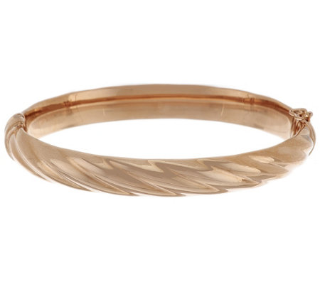 Bronze Average Polished Ribbed Oval Hinged Bangle by Bronzo Italia