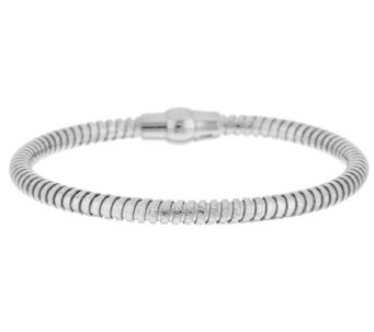 VicenzaSilver Sterling Diamond Cut Tubogas Bracelet - J289442