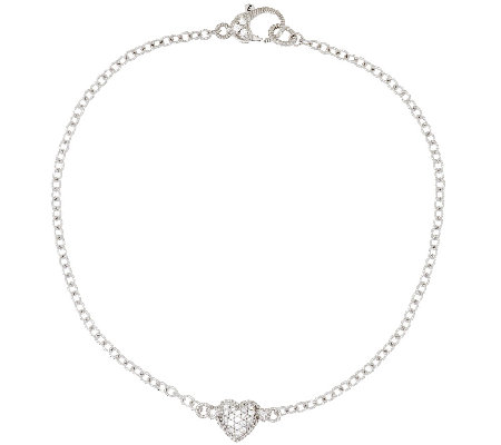 "Judith Ripka Sterling 10"" Pave' Heart Diamonique Anklet"