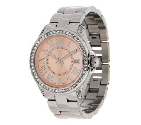"""As Is"" Steel by Design Round Crystal Dial Bracelet Watch"