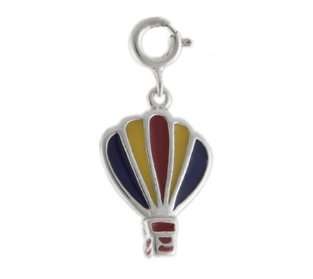 Sterling Hot Air Balloon Charm with Enamel