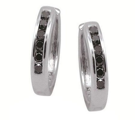 Diamond Hinged Hoops, Sterling, 1/4 cttw, by Affinity
