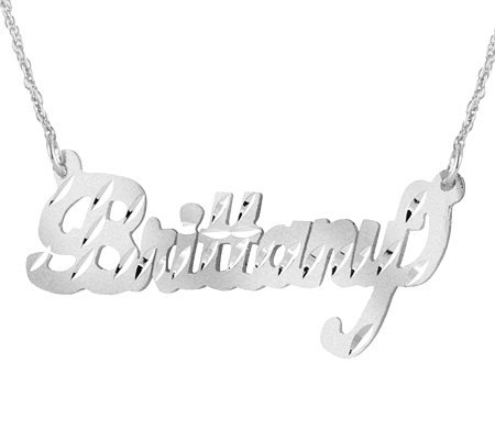 Sterling Silver Diamond-Cut Name Plate Necklace
