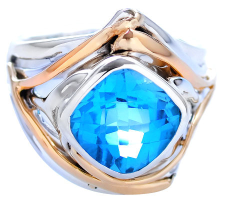 Hagit Gorali 4.00 ct Blue Topaz Ring, Sterling/14K