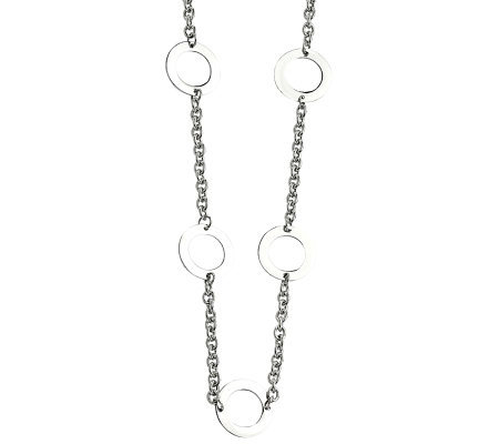 "Stainless Steel 26"" Open-Circle Station Necklace"