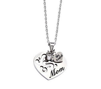 "Stainless Steel Mom Heart Pendant with 24"" Chain - J311242"