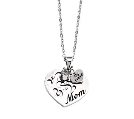"Stainless Steel Mom Heart Pendant with 24"" Chain"