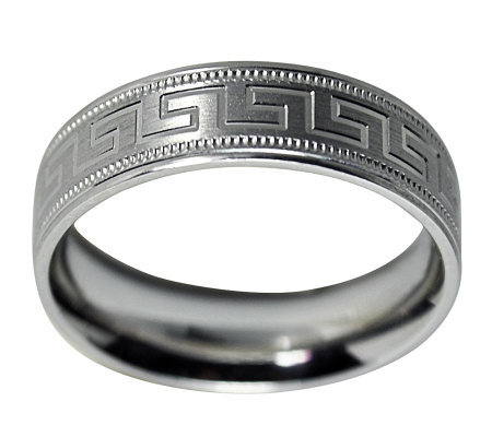 Sterling 6MM Greek Key Design & Milgrain U nisex Band Ring