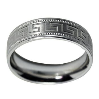 Sterling 6MM Greek Key Design & Milgrain U nisex Band Ring