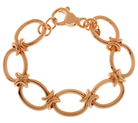 "Bronze 7-1/4"" Polished Oval Link Bracelet by Bronzo Italia"