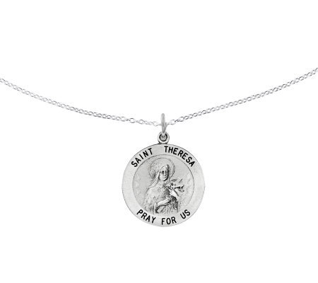 "Sterling Saint Theresa Round Solid Pendant w/ 18"" Chain"