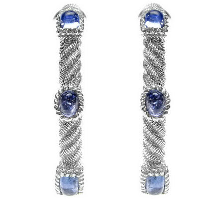 Judith Ripka Sterling Multi-Shape Blue Tanzanite Hoop Earring