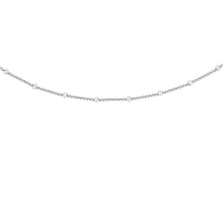 "Sterling 18"" Polished Bead Station Box Chain Necklace"