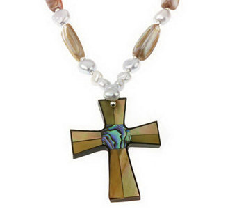 "Lee Sands Inlay Cross Pendant w/ 18"" Bead Necklace - J315042"