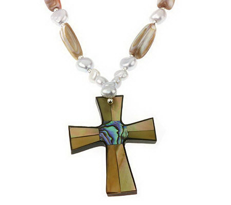 "Lee Sands Inlay Cross Pendant w/ 18"" Bead Necklace"
