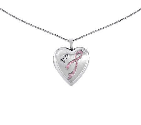 "Sterling Polished Awareness Heart Locket w/ 18""Chain"