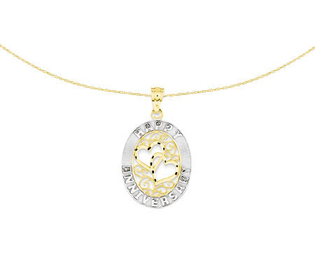 "Two-Tone Oval Happy Anniversary Pendant w/ 18""Chain, 14K"