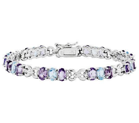 "Sterling 11.75 ct Amethyst & Blue Topaz 7-1/4""Tennis Bracelet"