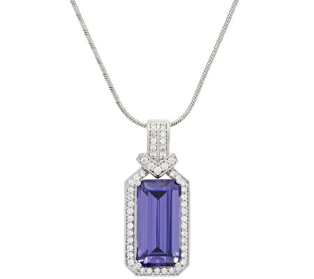 TOVA Diamonique Simulated Tanzanite Enhancer with Chain, Sterling