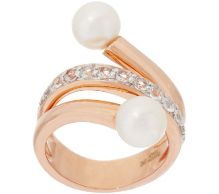 Honora Cultured Pearl 6.5mm & .50 cttw White Topaz Bronze Ring