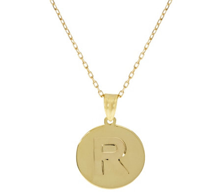 14k gold polished initial disc pendant w 18 quot chain page