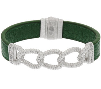 Judith Ripka Sterling Verona Curb Link & Green Leather Bracelet - J320042
