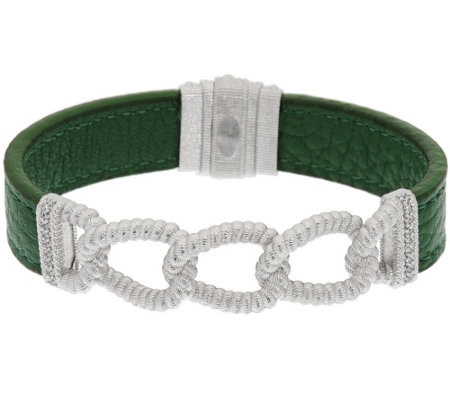 Judith Ripka Sterling Verona Curb Link & Green Leather Bracelet