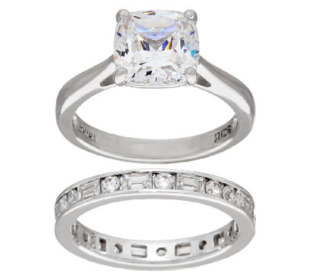 diamonique 100 facet cushion bridal ring set platinum clad - Qvc Wedding Rings