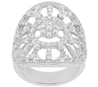 Diamonique 1.05 cttw Round Open Work Ring, Sterling - J321442