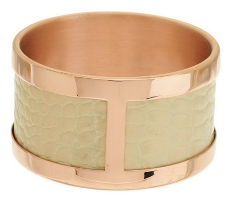 """As Is"" Bronzo Italia Large Leather Inlay Polished Round Wide Bangle"