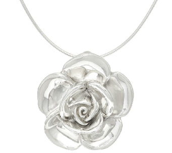 Sterling Silver Bold Rose Pendant with Omega by Or Paz - J323242