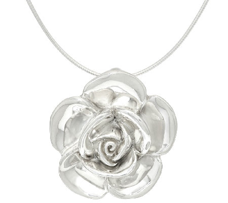 Sterling Silver Bold Rose Pendant with Omega by Or Paz